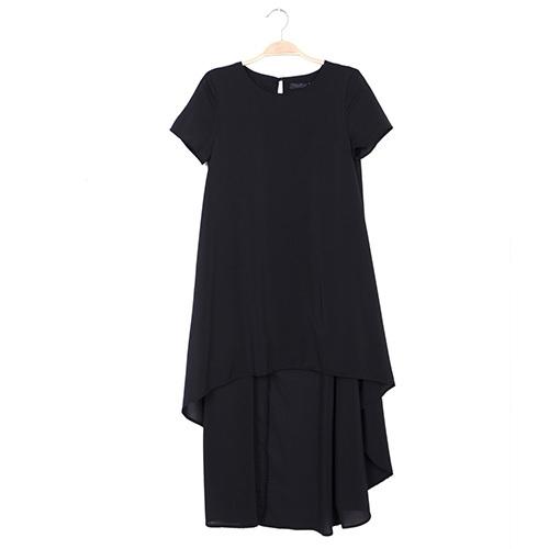 Fashion shopping mall — [gzxy0293]fashion solid color short sleeve irregular hem dress