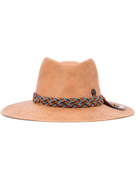 Maison Michel braided strap hat - Brown