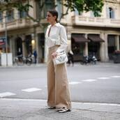 pants,shirt,top,white shirt,torusers,brown pants,shoes,bag