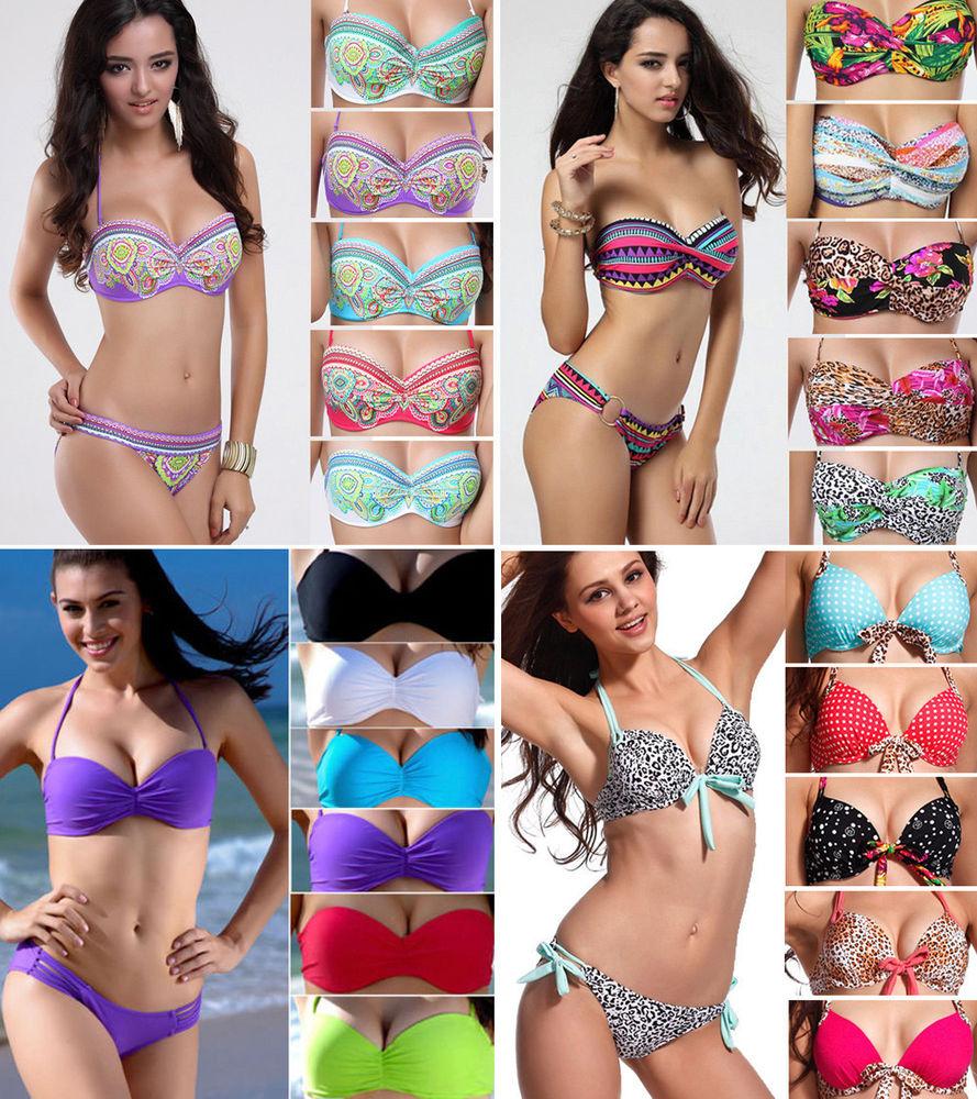 Hot sexy women top bikini push up padded swimsuit bathing suit swimwear size sml