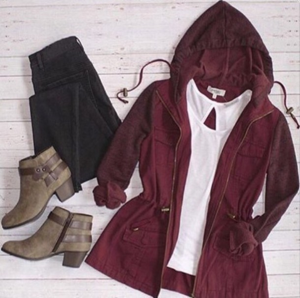 Jacket: outfit, fall outfits, fashion, cute, burgundy jacket ...