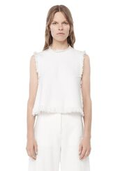 top,white,white top,sleeveless,alexander wang,designer,frayed denim,denim top,all white everything,frayed top