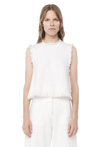top white white top sleeveless alexander wang designer frayed denim denim top all white everything