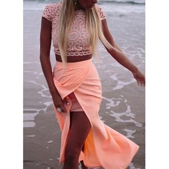top crochet coral pink skirt crochet crop top