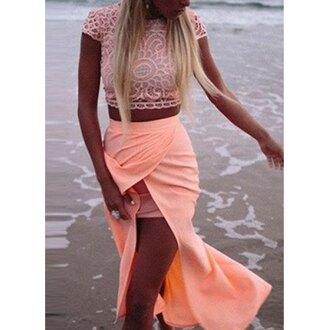 top crochet coral pink skirt crochet crop top