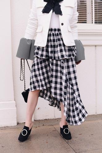 skirt asymmetrical skirt tumblr gingham black and white midi skirt asymmetrical shoes pilgrim shoes high heel loafers top white top blazer white blazer