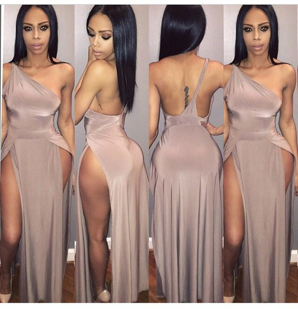 dress high heels heels shoes outfit long dress fashion style slit dress maxi dress romper