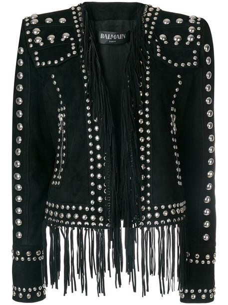 Balmain blazer women embellished cotton black jacket