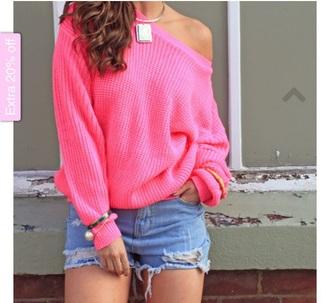 sweater stylish pink bright