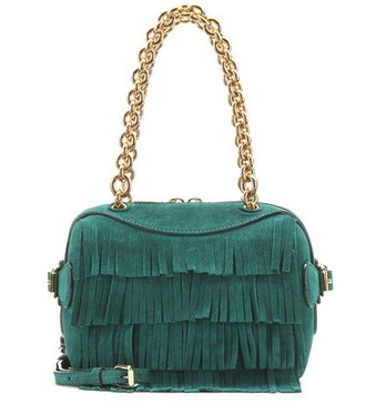 bee bag shoulder bag suede green