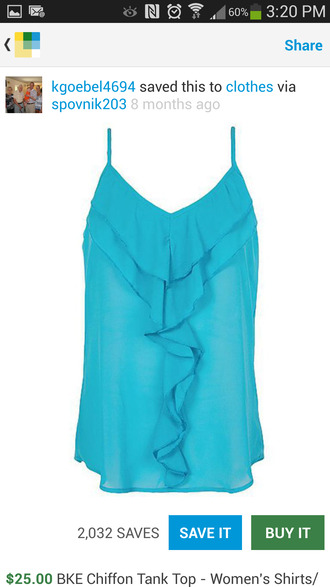 blouse bright blue flowy tank top v neck