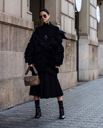 jacket puffer jacket black jacket down jacket sweater zip black sweater skirt midi skirt black skirt boots black boots ankle boots sunglasses all black everything aviator sunglasses bag buckle bag j w anderson fashion vibe blogger dress shoes oversized black dress zara shoes h&m rayban