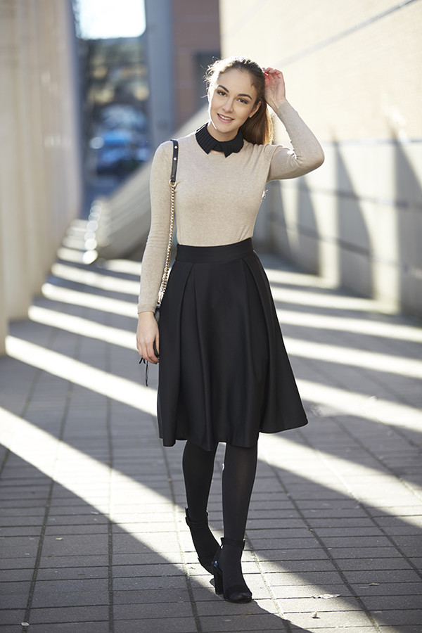 Full A-line Midi Skirt in Black - Retro, Indie and Unique Fashion