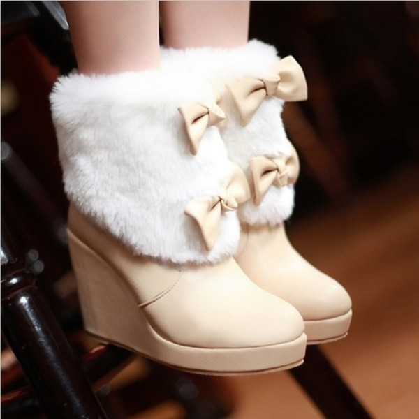 shoes bows fur white wedges beige shoes winter boots