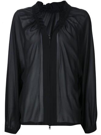 blouse zip drawstring black top