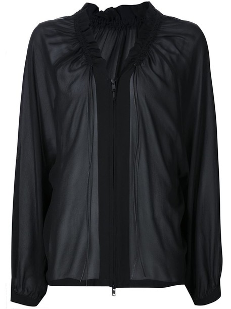 ANN DEMEULEMEESTER blouse zip drawstring black top