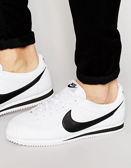 low priced de760 0f069 Nike Cortez Leather Trainers In White 749571-100 at asos.com
