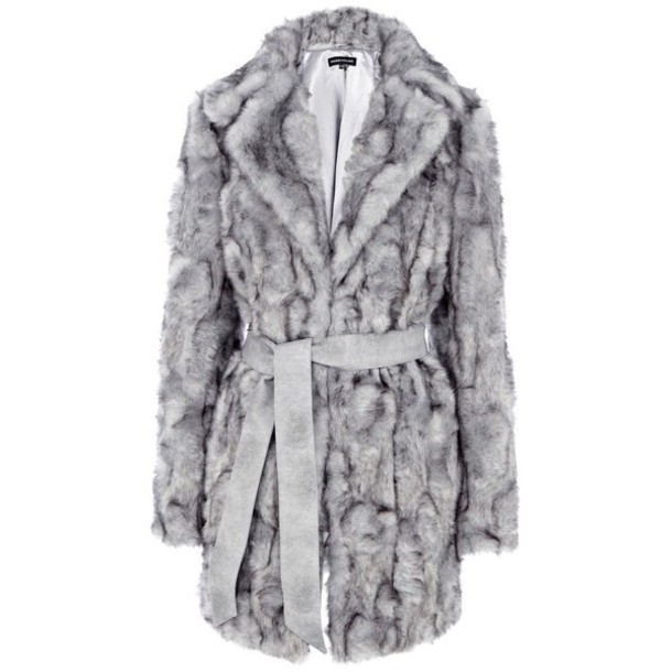 coat warehouse grey fur coat