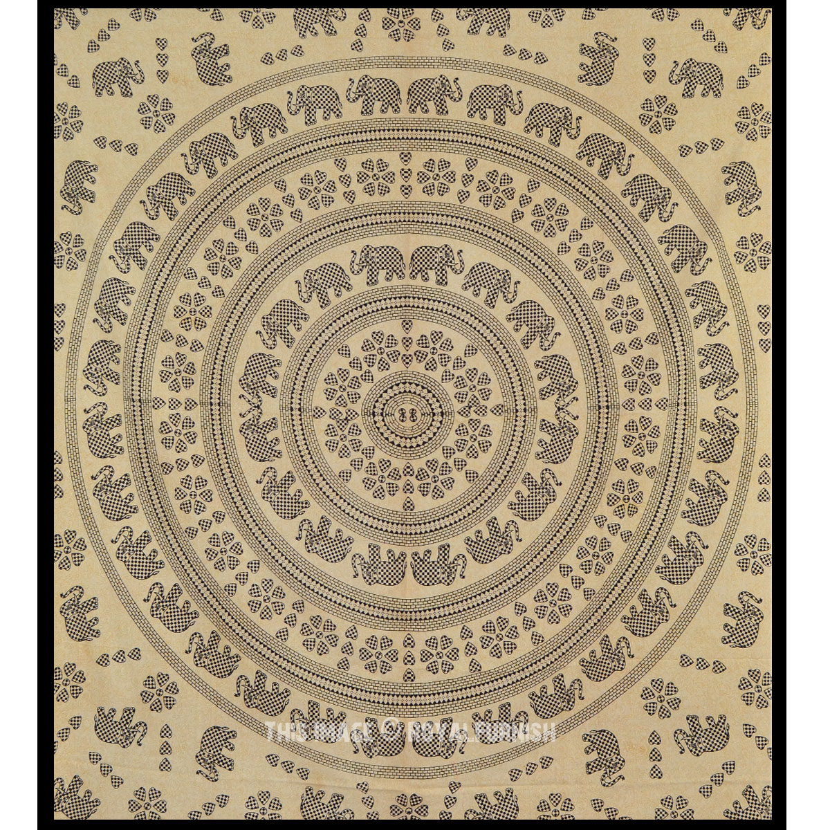 Black Elephant Mandala Hippie Wall Hanging Bohemian Tapestry Bed Cover Home Decorative Art - RoyalFurnish.com