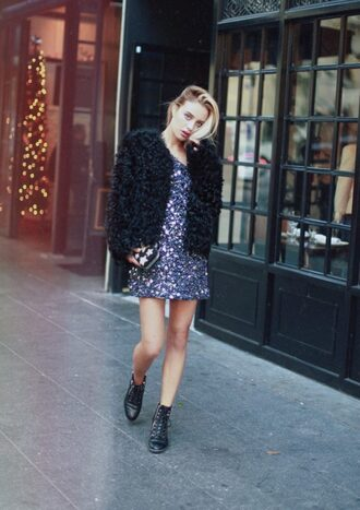 theclosetheroes blogger dress cardigan shoes jacket fuzzy jacket mini dress sequin dress ankle boots clutch party outfits fluffy faux fur jacket guiseppe zanotti holiday season new year's eve new year dresses black fur jacket