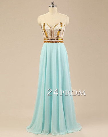 light green sequin long prom dress,long evening dress - 24prom