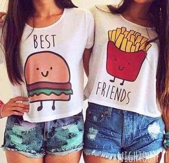 shirt red t-shirt hot fries hamburger tee summer white t-shirt kylie jenner dress
