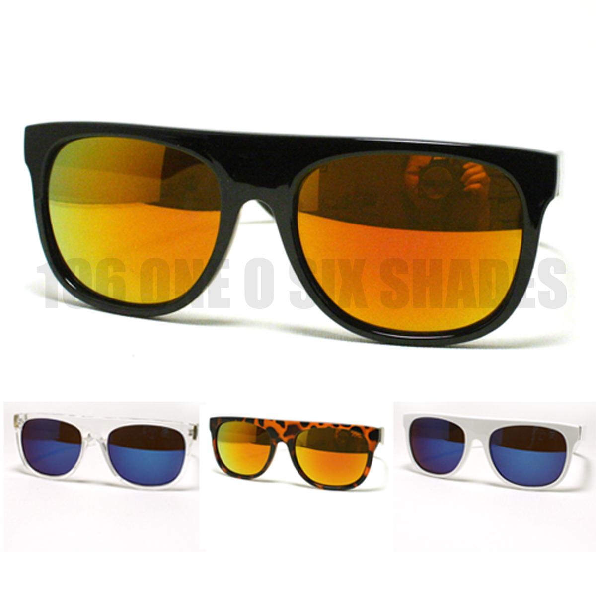 Retro flat top sunglasses vintage super shades color mirror lens nerd skaters