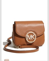 bag,tan leather bag,michael kors,crossbody bag,cross body