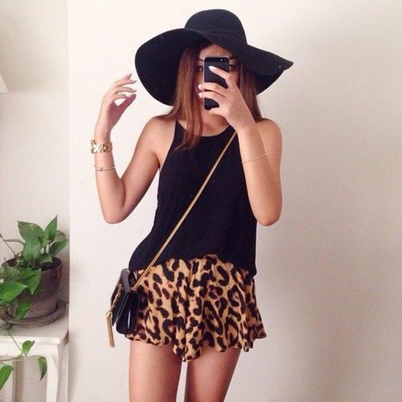 hat style fashion skirt animal print leopard print t shirt, beautiful