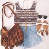 bag,indie,hipster,High waisted shorts,tank top,sandals,summer,boho,tribal pattern,summer outfits,shoes,shirt,jewels,aztec-ish