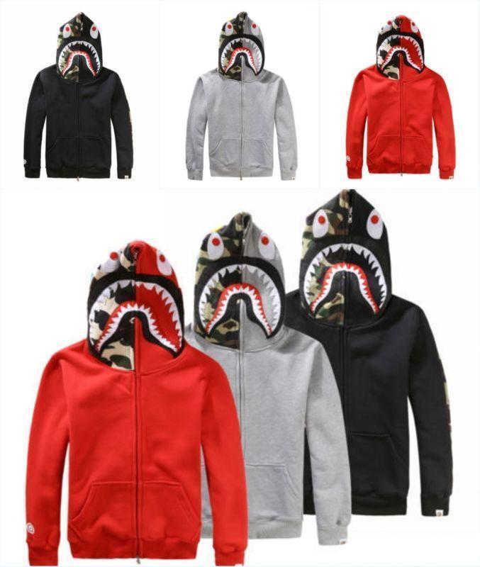 82696655 New Bape A Bathing ape Jacket SHARK Head Camo FULL ZIP HOODIE Long Sleeve  Coats