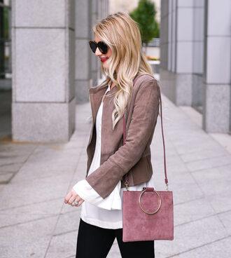 visions of vogue blogger jacket shoes jewels bag scarf shoulder bag suede jacket bell sleeves