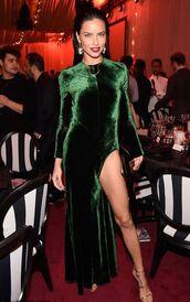 dress,slit dress,velvet,velvet dress,maxi dress,sandals,model,adriana lima,green dress