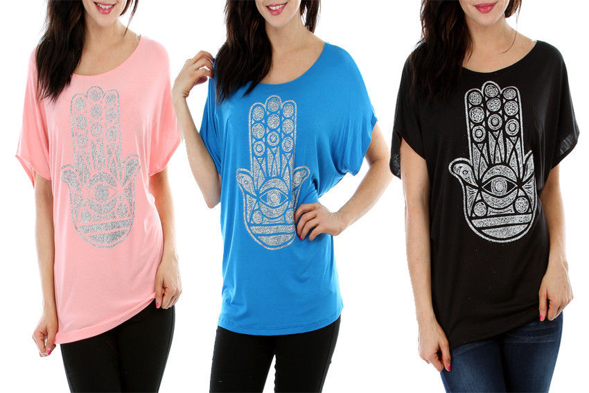 Lyss Loo Sex Junior Womens T Shirt Hamsa Print Top Size XL 2XL 3XL Plus Size | eBay