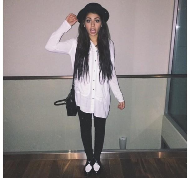 shoes black white shirt hat blouse bag
