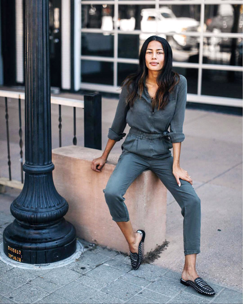 783cabb9327 jumpsuit tumblr khaki grey jumpsuit shoes loafers black shoes
