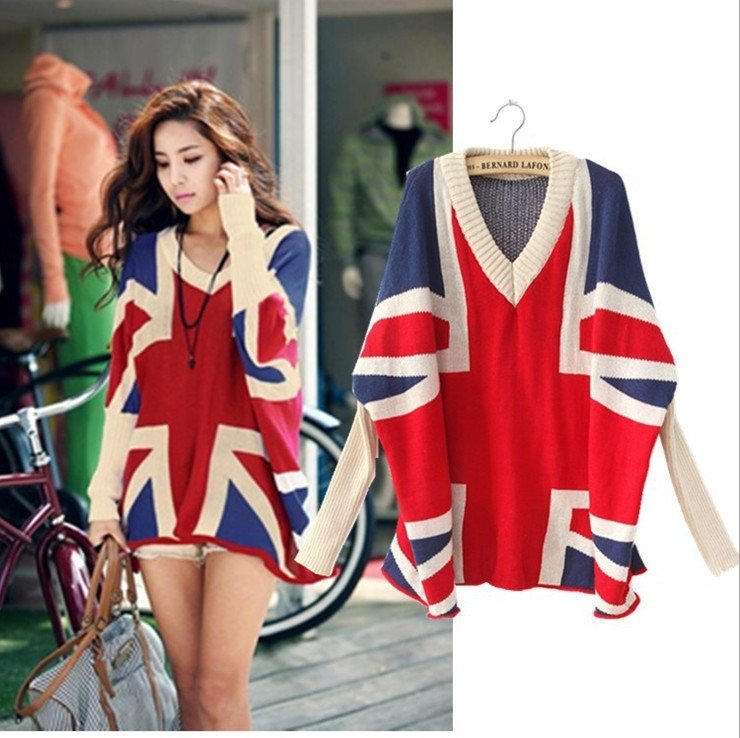 Free shipping  2012 new ladies europe and america set of m word union jack pullover sweater coat spell color/new fall sweaters