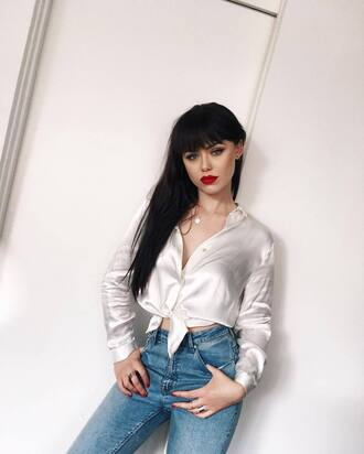 shirt tumblr white shirt silk silk shirt denim jeans blue jeans necklace jewels jewelry long hair red lipstick kristina bazan kayture top blogger lifestyle