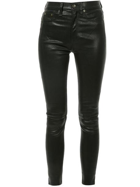 Rag & Bone women spandex leather cotton black pants