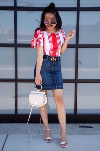 skirt denim skirt mini skirt knotted sleeves sandals mini bag blogger blogger style striped t-shirt crossbody bag