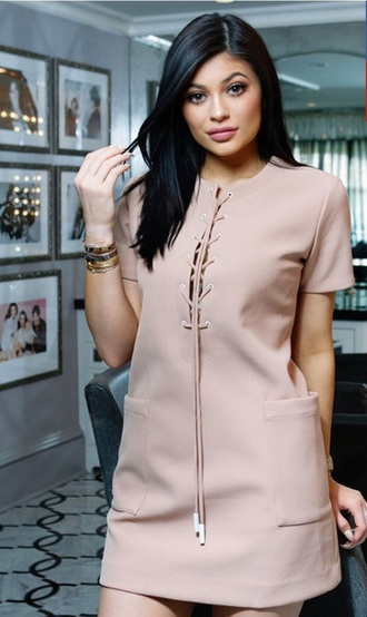 dress kylie jenner kardashians kylie jenner dress pink dress lace up blush pink lace up dress short sleeve dress nude dress t-shirt dress nude tan