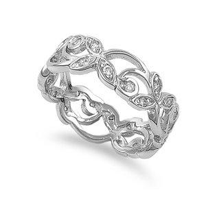 Amazon.com: silver 7mm filigree cz eternity ring (size 5