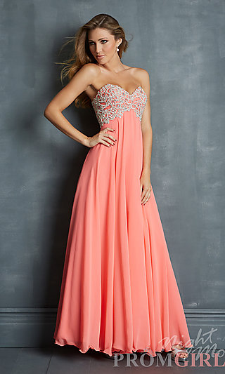 Elegant Strapless Gown, Night Moves Prom Long Dresses- PromGirl