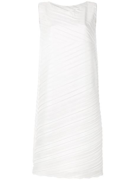 Issey Miyake dress shift dress pleated women cotton grey