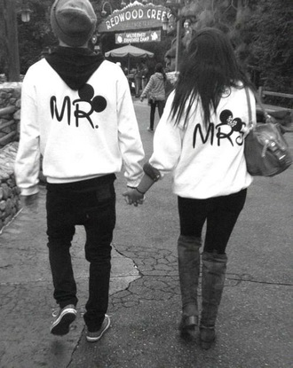 sweater cute love white sweater disney sweater cute sweaters couple sweaters mickey mouse sweater