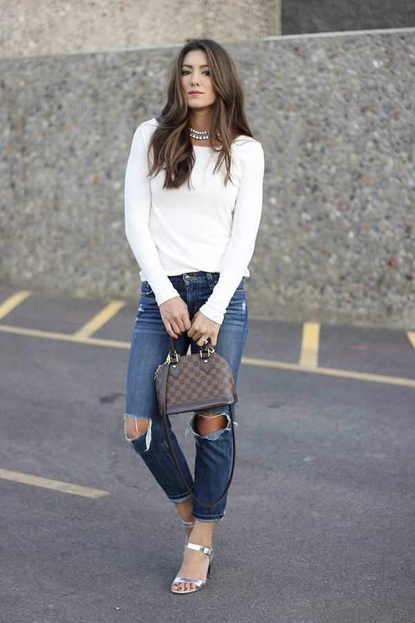 seekingsunshine blogger sweater jeans shoes jewels louis vuitton bag sandals metallic shoes fall outfits