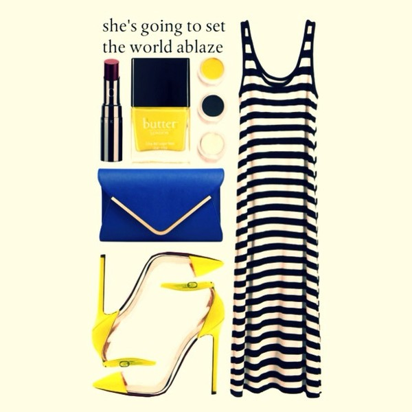 bag stipes yellow white dress dress summer dress blue blue bag high heels cute high heels nail polish shoes