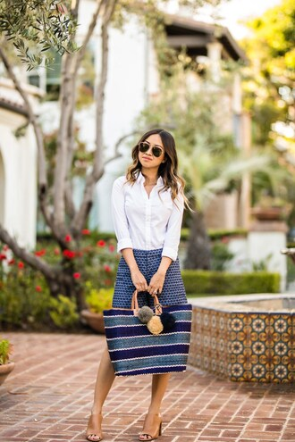 lace and locks blogger shirt shorts bag sunglasses shoes spring outfits mules white shirt raffia bag blue shorts