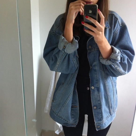 jacket oversized big denim jeanjacket jean jackets blouse