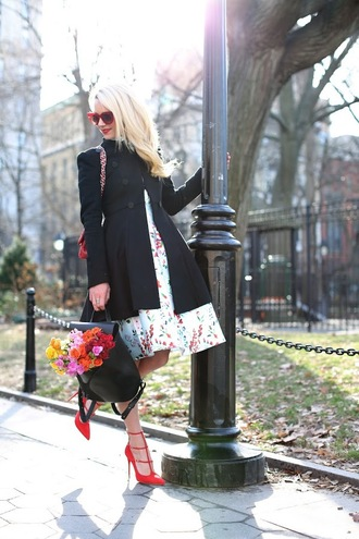 atlantic pacific blogger red heels floral dress double breasted black coat